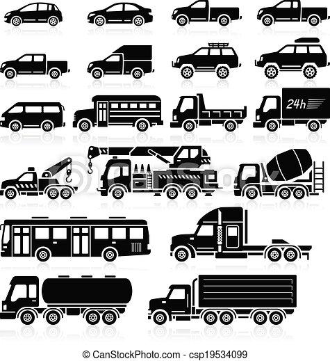 自動車, set., ベクトル, イラスト, アイコン - csp19534099