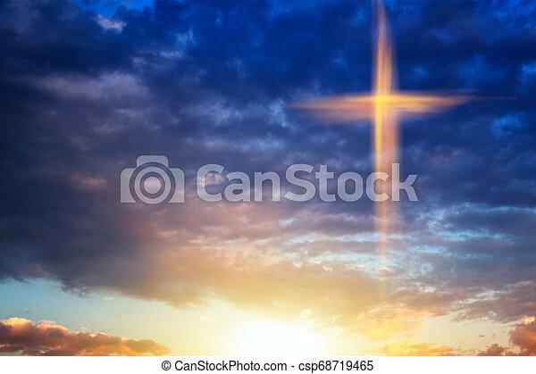 自然, シンボル, 交差点, 宗教, 形, 劇的, 背景, heavenly - csp68719465
