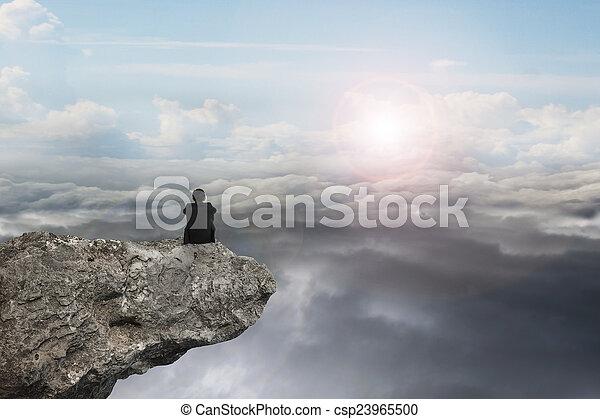 自然, モデル, 空, 日光, cloudscap, ビジネスマン, 崖 - csp23965500