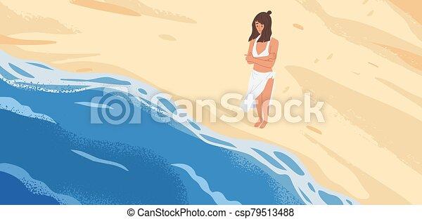 自然, 概念, 孤独, illustration., ビュー。, 立って見る, 漫画, 恐れ, 海景, 砂, 立ちなさい, 海, ベクトル, 女, 上, 前部, グラフィック, 当惑させている, 哀愁を秘めた, 女性, 波, 始める - csp79513488