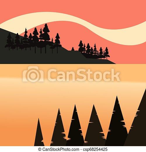 自然, 湖, 木, ベイ控え, 森林, 風景 - csp68254425