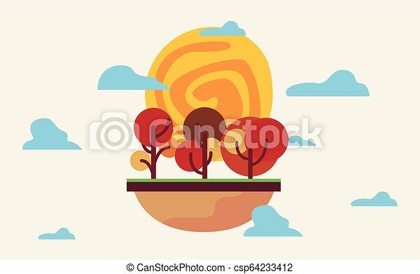 自然, 空, 木, 風景, 自然 - csp64233412