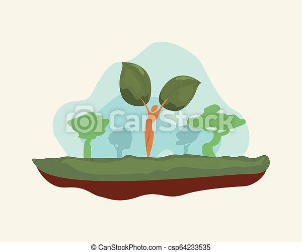 自然, 空, 木, 風景, 自然 - csp64233535