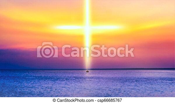 自然, 背景, 宗教, 劇的, heavenly, 交差点, シンボル, 形 - csp66685767