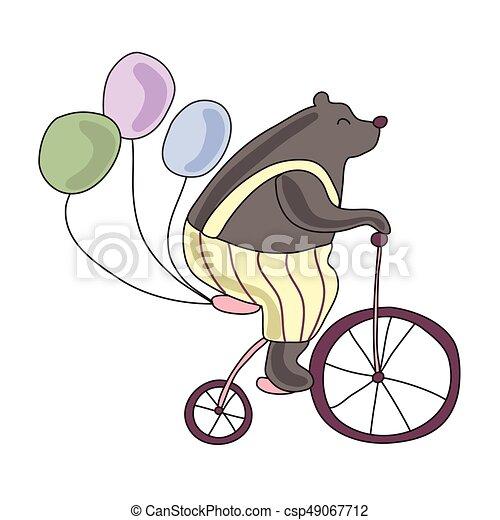 かわいい 自転車 イラスト サーカス 隔離された 熊 バック