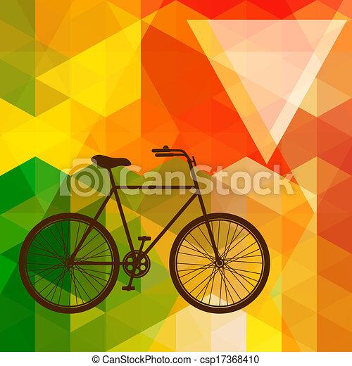 自転車, 作られた, 三角形, カラフルである, shapes., 背景, 古い, シルエット, モザイク - csp17368410