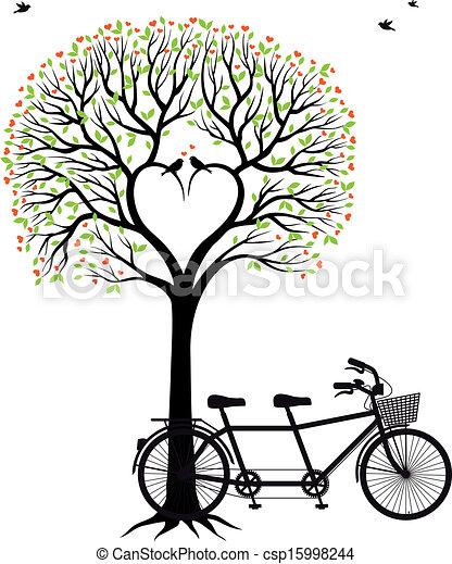 自転車, 心, 木, 鳥 - csp15998244