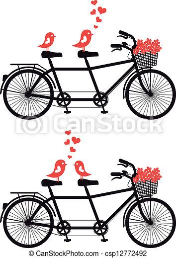 自転車, 愛, ベクトル, 鳥 - csp12772492