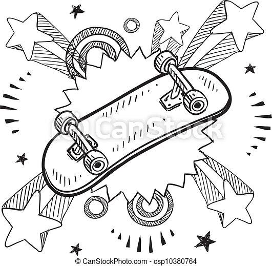 興奮, スケートボード, スケッチ - csp10380764