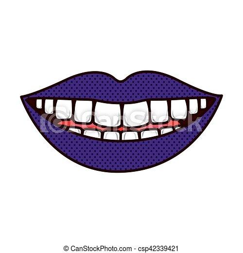 舌, 唇, teeths, シルエット, 微笑 - csp42339421