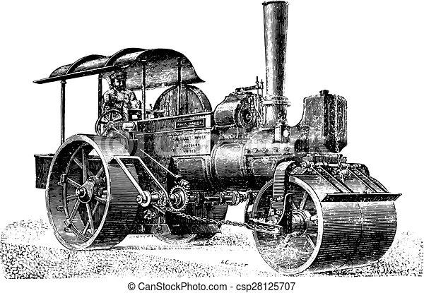 舗装, 回転, 蒸気, engraving., ローラー, 型 - csp28125707