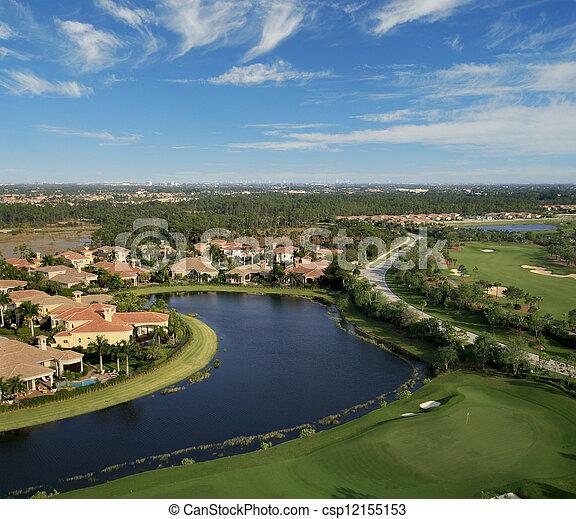 航空写真, ゴルフ, フロリダ, 儀礼飛行, コース - csp12155153