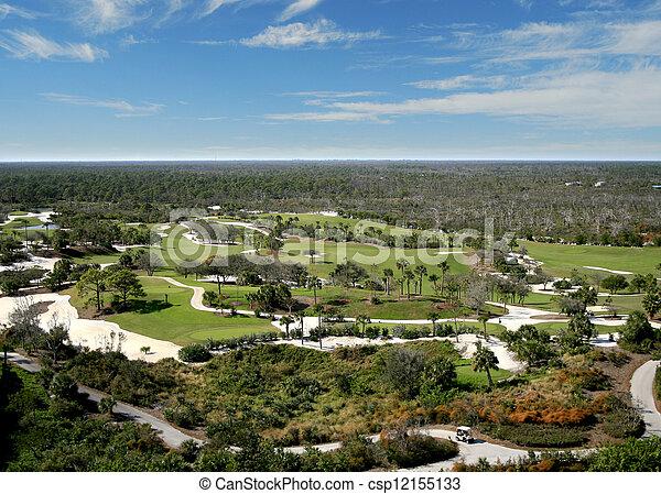 航空写真, ゴルフ, フロリダ, 儀礼飛行, コース - csp12155133
