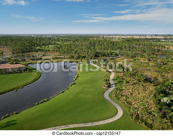 航空写真, ゴルフ, フロリダ, 儀礼飛行, コース - csp12155147