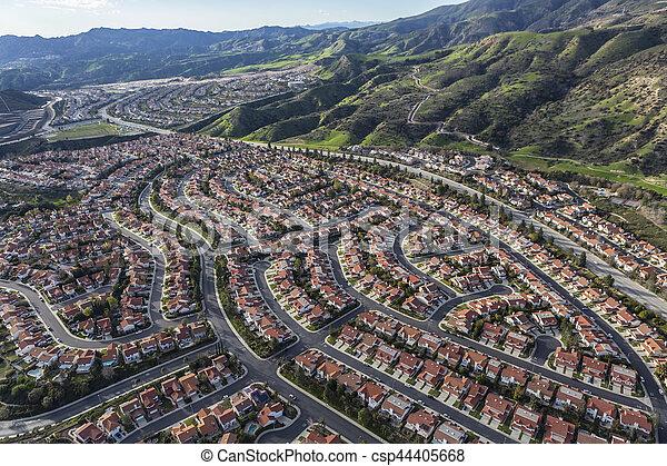 航空写真, 牧場, アンジェルという名前の人たち, los, カリフォルニア, ポーター, 光景 - csp44405668