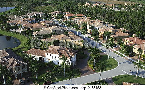 航空写真, 近所, フロリダ, 儀礼飛行 - csp12155158