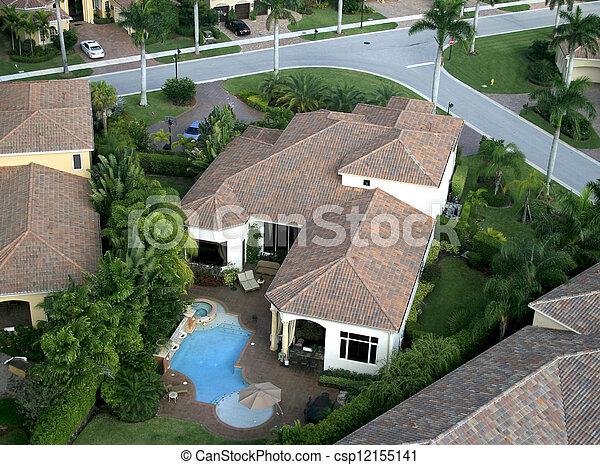航空写真, 近所, フロリダ, 儀礼飛行 - csp12155141