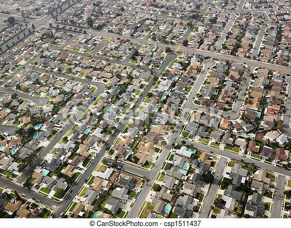 航空写真, sprawl., 都市 - csp1511437