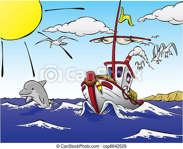 船, fish, イルカ, 去ること - csp6642529