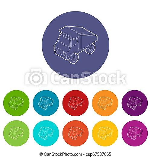 色, おもちゃ, セット, トラック, アイコン - csp67537665
