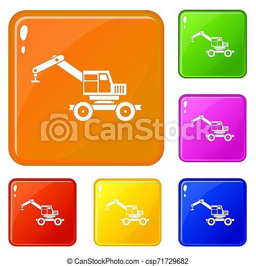 色, クレーン, セット, トラック, アイコン - csp71729682