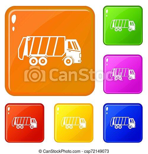 色, セット, トラック, ごみ, アイコン - csp72149073