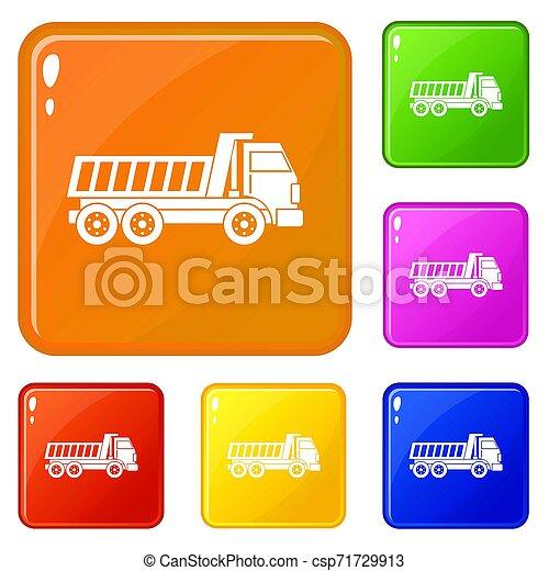 色, セット, トラック, ダンパ, アイコン - csp71729913