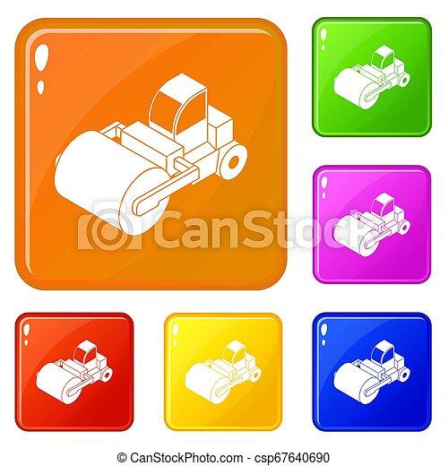 色, セット, トラック, ローラー, アイコン - csp67640690