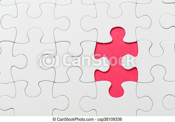 色, パズル小片, 赤, 欠けている - csp38109336