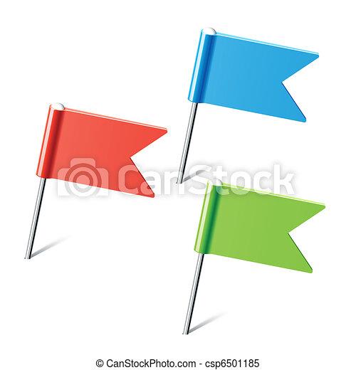 色, ピン, 旗, セット - csp6501185