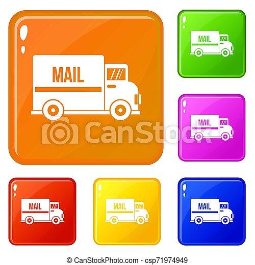 色, メール, セット, トラック, アイコン - csp71974949