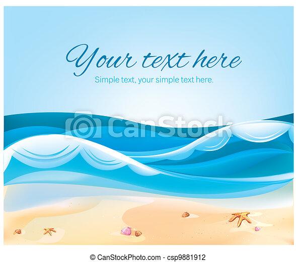 色, 夏, 浜, イラスト, 海洋 - csp9881912