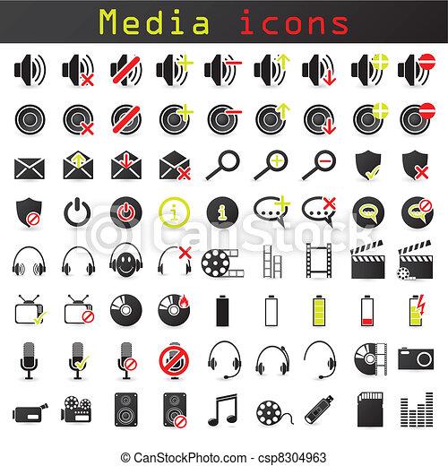 色, 媒体, セット, 黒, アイコン - csp8304963