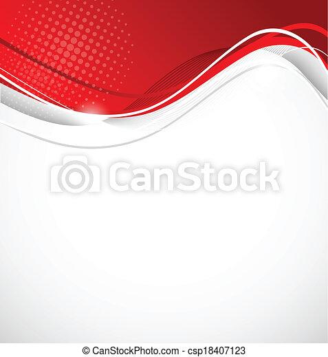 色, 抽象的, 波状, 赤い背景 - csp18407123