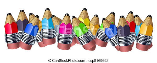 色, 混ぜられた, multi, ボーダー, 鉛筆 - csp8169692