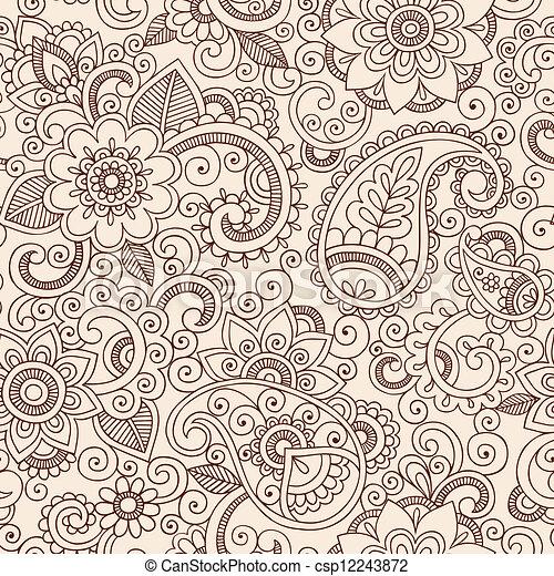 花のパターン, ペイズリー織, henna, mehndi - csp12243872