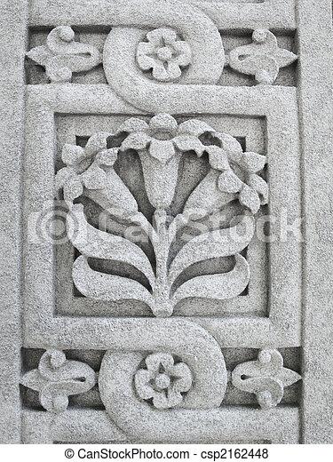 花のパターン, 石, 刻まれた - csp2162448