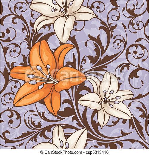 花のパターン, seamless - csp5813416