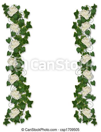 花のボーダー, ツタ, シャクヤク, 招待 - csp1709505
