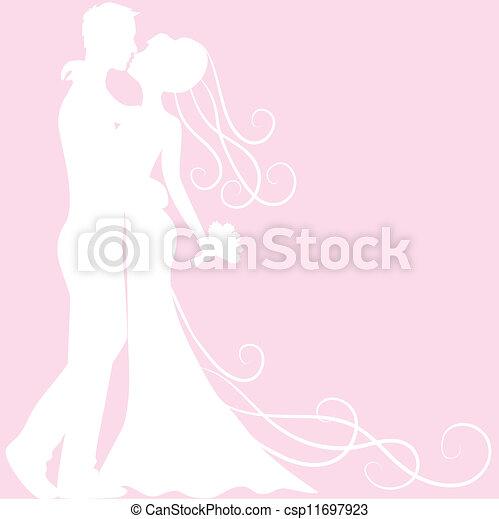 花婿, 花嫁, シルエット - csp11697923