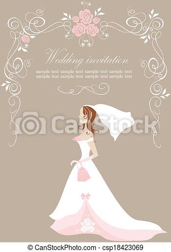 花嫁, 結婚式の招待 - csp18423069
