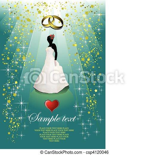 花嫁, 結婚式, カード, 招待 - csp4120046