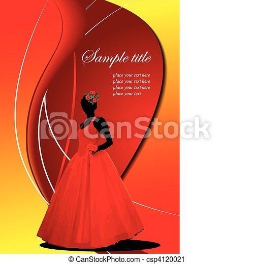 花嫁, 結婚式, カード, 招待 - csp4120021