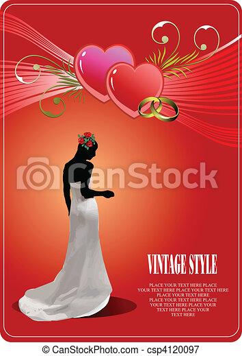 花嫁, 結婚式, カード, 招待 - csp4120097