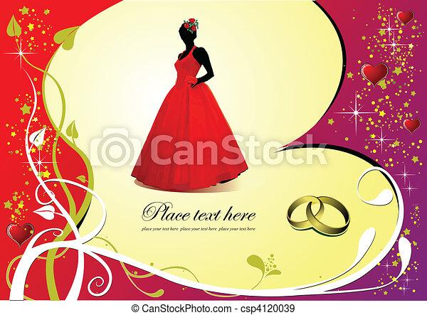 花嫁, 結婚式, カード, 招待 - csp4120039