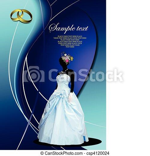花嫁, 結婚式, カード, 招待 - csp4120024
