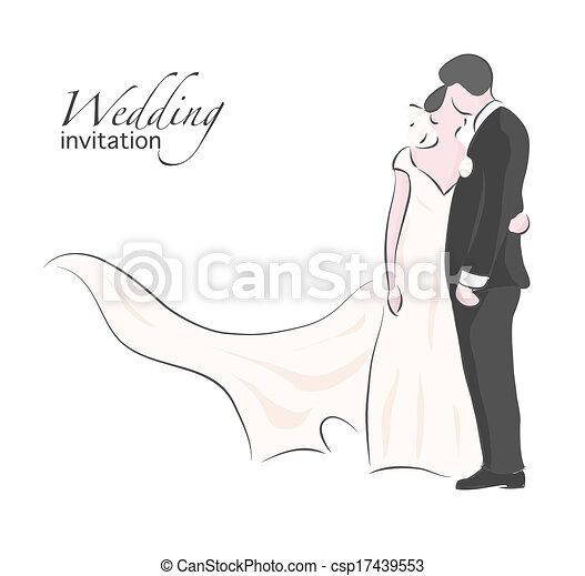 花嫁, 結婚式, 花婿, 接吻 - csp17439553