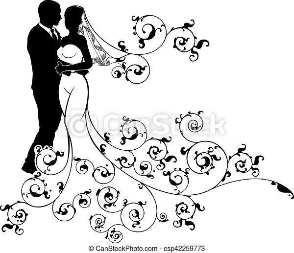 花嫁, 花婿, シルエット, イラスト, 結婚式. パターン装飾された, ガウン, 概念, シルエット ...