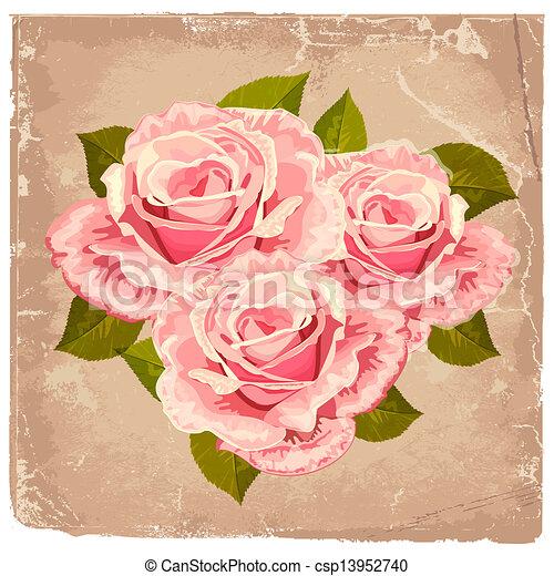 花束, ばら, デザイン, レトロ - csp13952740
