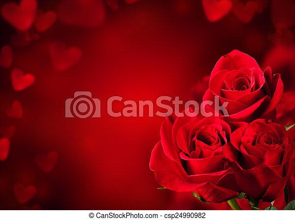 花束, ばら, 赤 - csp24990982